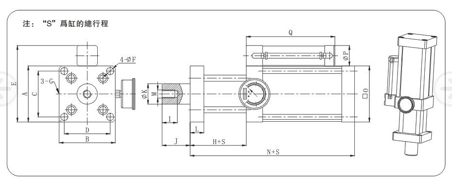 增压缸原理:直压式增压缸把一个气缸和一个油缸装在一起,用气缸推动油缸的驱动小活塞,最后把压力从油缸大活塞输出,预压式增压缸由采用两个电磁阀控制,由于直压式增压缸无预压行程直接通气增压,可采用一个电磁阀控制。