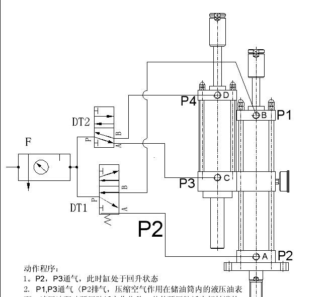 jrd行程可调增压气缸安装原理图