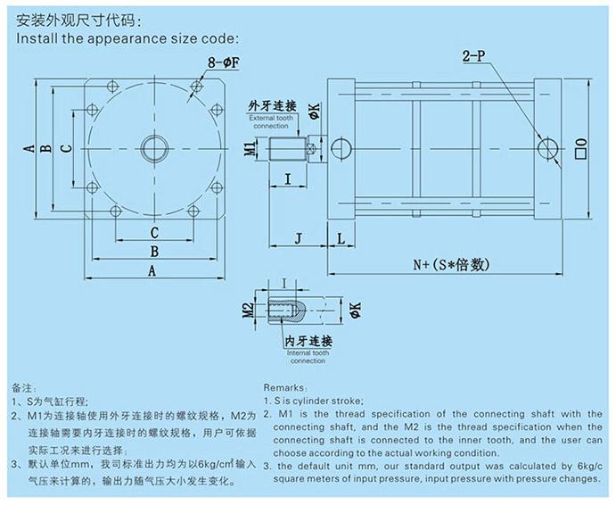 JRBL3倍多倍出力气缸外形尺寸